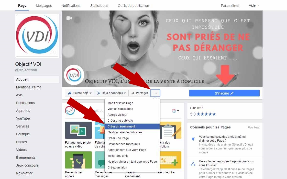 evenement facebook menu page