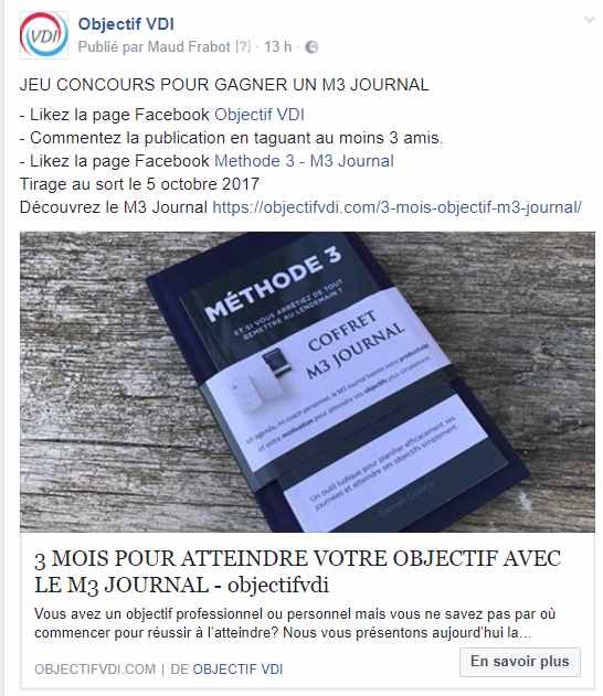 post concours facebook